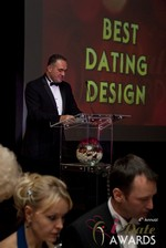 Nick Tsinonis announcing the Best Dating Design at the 2013 Las Vegas iDate Awards Ceremony